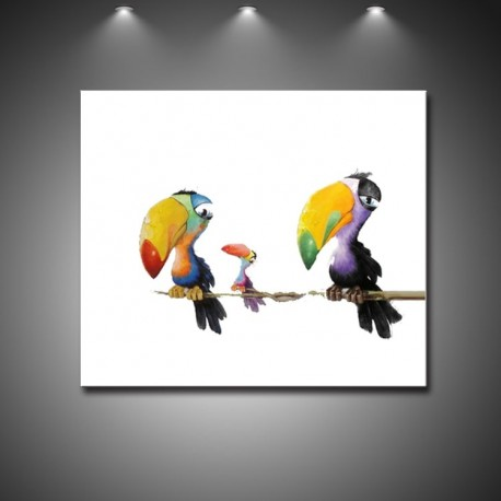 Toucan Birds - Hand-Painted Modern Home decor Wall Art oil Painting