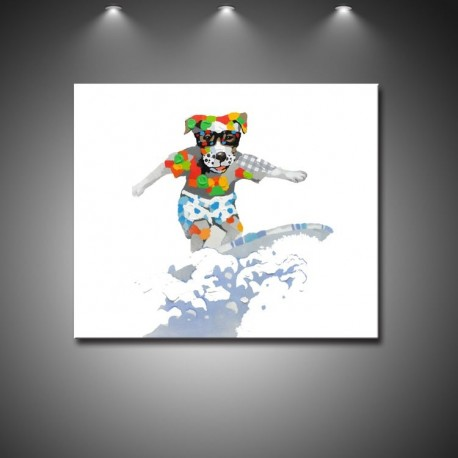 Surfing Dog - Hand-Painted Modern Home decor wall art oil Painting