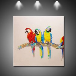 Three Parrots - Hand-Painted Modern Home decor Wall Art oil Painting