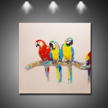 Three Parrots Hand Painted Modern Home Decor Wall Art Oil Painting