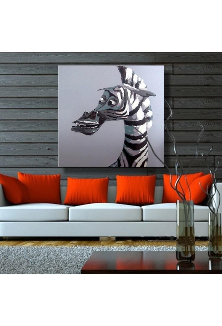 Zebra Hand Painted Animal Wall Art Modern Oil Painting