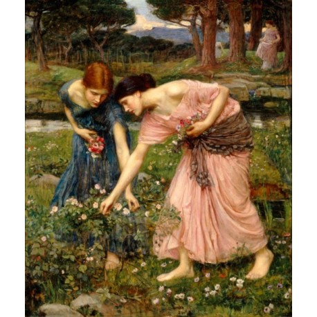 Gather Ye Rosebuds 1909 by John William Waterhouse -Art gallery oil painting reproductions