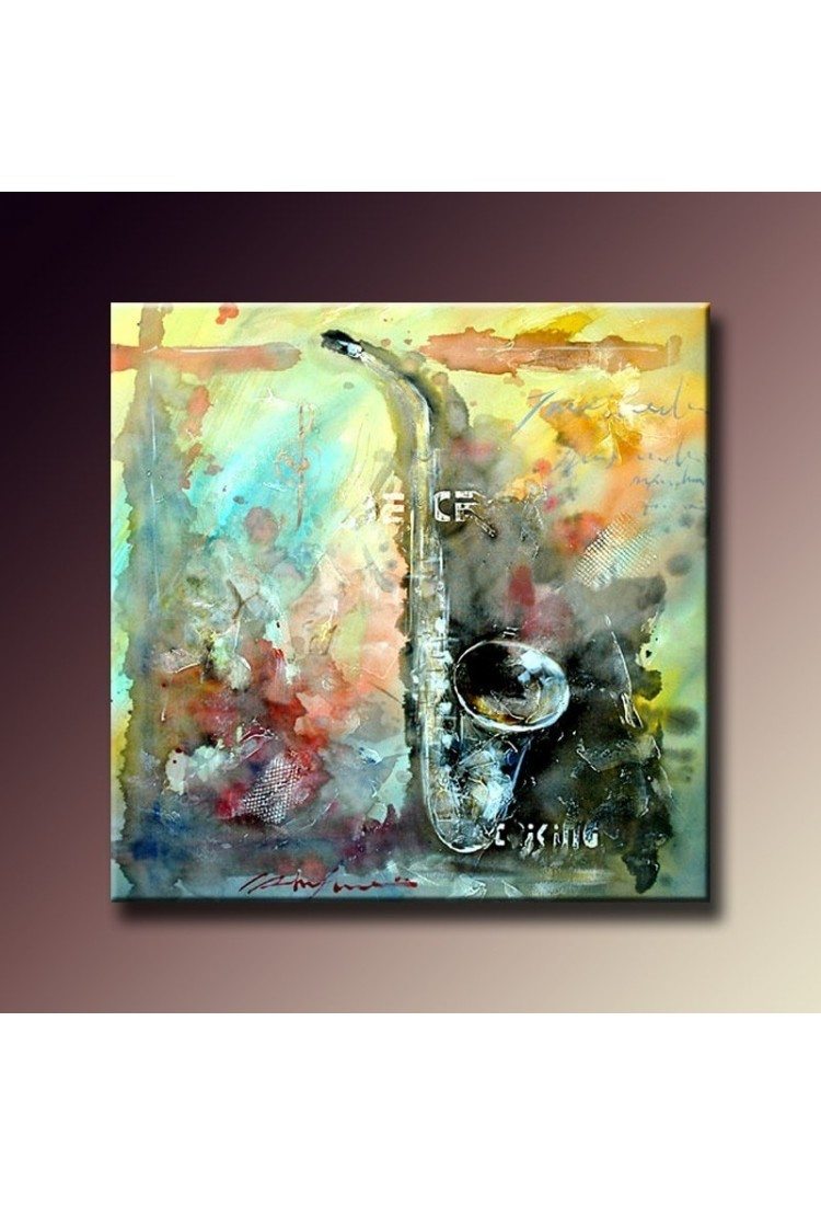 Saxophone color hand painted musical home decor wall art painting