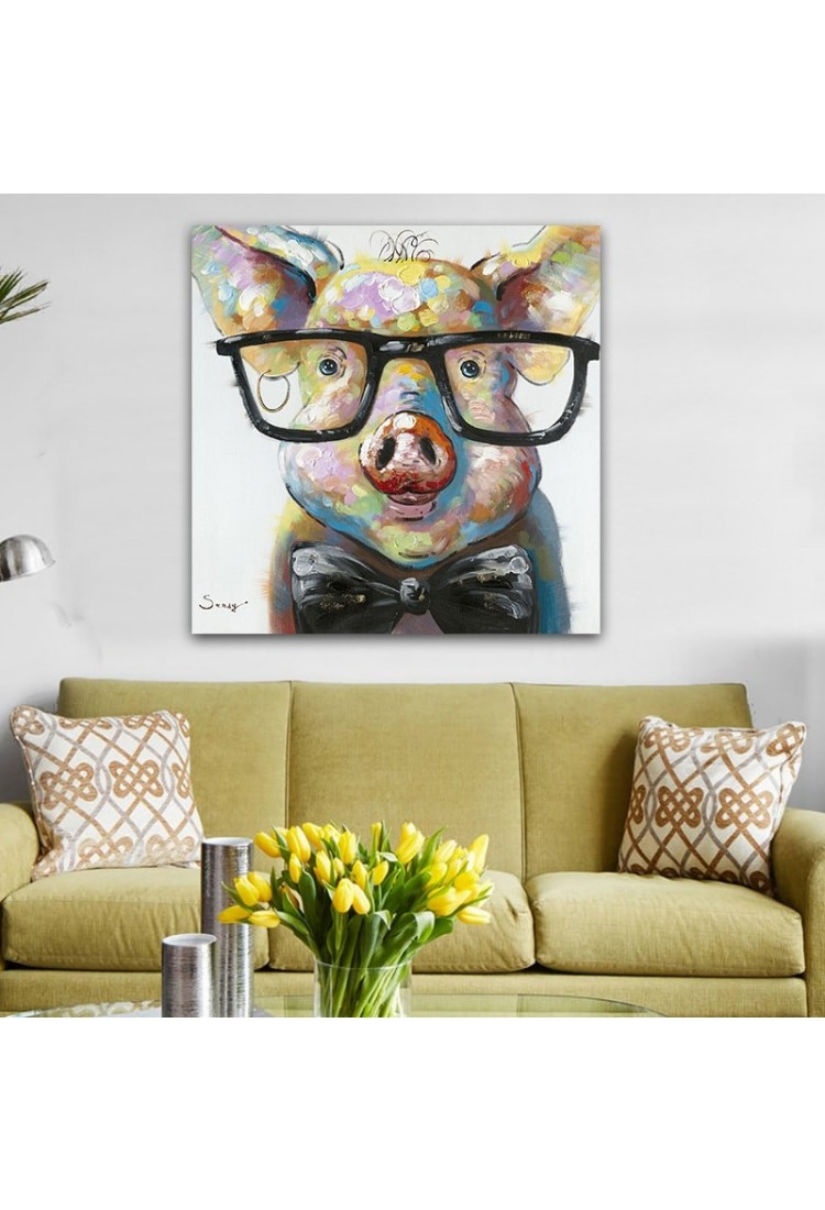 smart pig hand painted modern home decor wall art oil painting. Black Bedroom Furniture Sets. Home Design Ideas