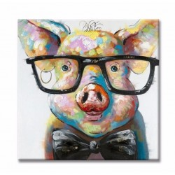 Smart Pig - Hand-Painted Modern Home decor wall art oil Painting