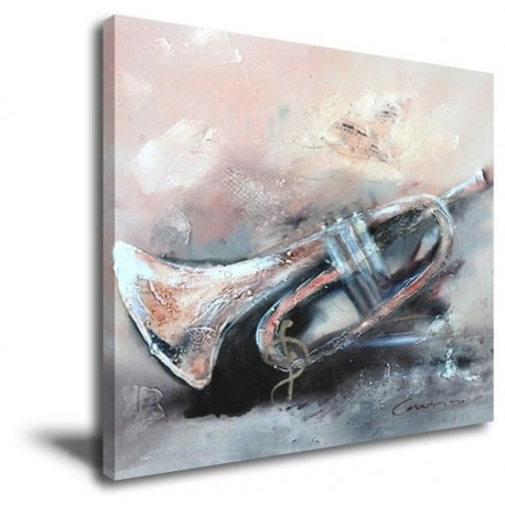 Trumpet Abstract- Hand-Painted Music Home decor wall art oil Painting