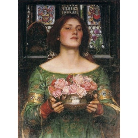 Gather Ye Rosebuds While Ye May 1908 by John William Waterhouse-Art gallery oil painting reproductions