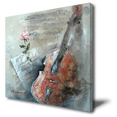 Violin Abstract- Hand-Painted Music Home decor wall art oil Painting