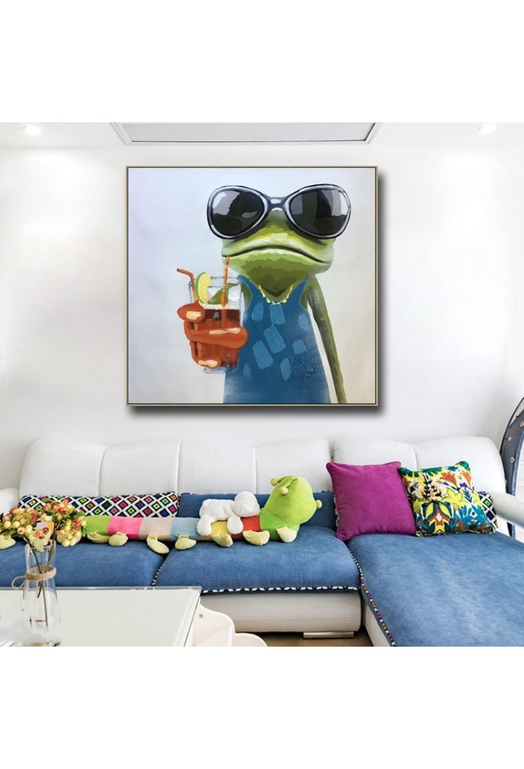 cool frog hand painted modern home decor wall art oil painting. Black Bedroom Furniture Sets. Home Design Ideas