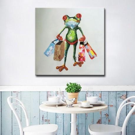 Shopping Frog Green Hand Painted Modern Home Decor Wall Art