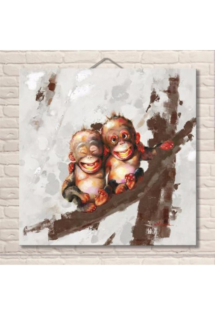 Twin Monkeys Hand Painted Modern Home Decor Wall Art Oil Painting