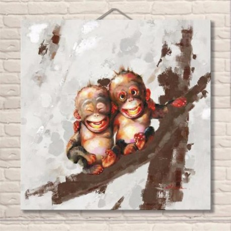 Twin Monkeys - Hand-Painted Modern Home decor wall art oil Painting