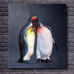 Two Penguins -Hand-Painted Modern Home decor wall art oil Painting