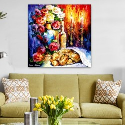 Shabbat Table Abstract- Jewish Art Oil Painting Wall Decor