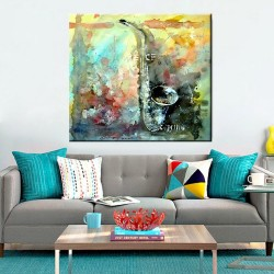 Saxophone Color - Hand-Painted Musical Home decor wall art Painting