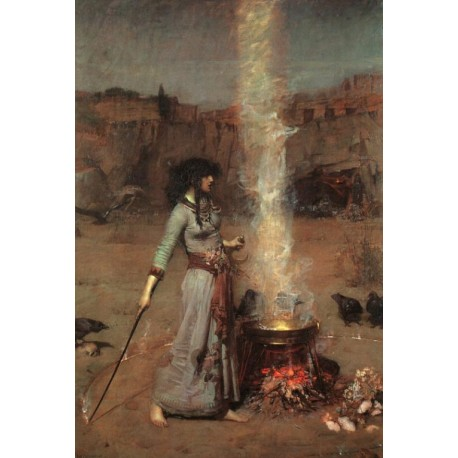 Magic Circle 1886 by John William Waterhouse-Art gallery oil painting reproductions