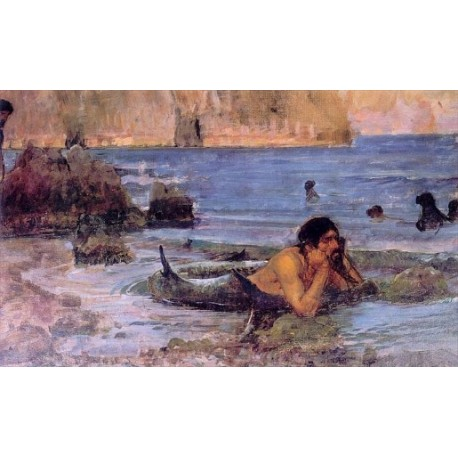 The Merman 1892 by John William Waterhouse-Art gallery oil painting reproductions