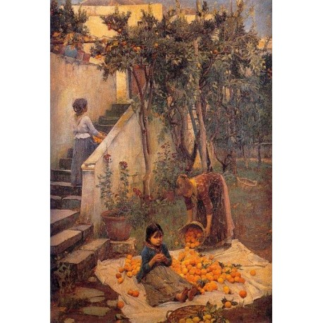 The Orange Gatherers 1890 by John William Waterhouse-Art gallery oil painting reproductions