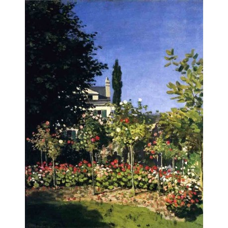 Garden in Flower at Sainte Adresse by Claude Oscar Monet - Art gallery oil painting reproductions