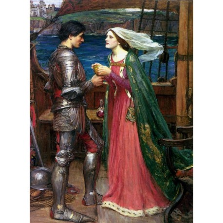 Tristan and Isolde with the Potion 1916 by John William Waterhouse-Art gallery oil painting reproductions