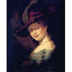 A Bust of a Young Woman Smiling 1633 by Rembrandt Harmenszoon van Rijn-Art gallery oil painting reproductions