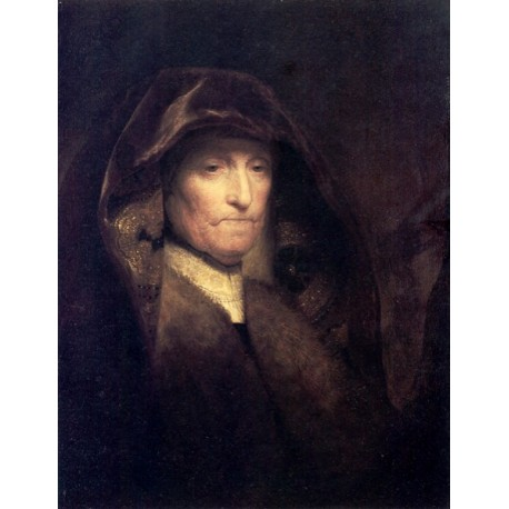 A Bust of an Old Woman-The Artists Mother 1629-31 by Rembrandt Harmenszoon van Rijn- Art gallery oil painting reproductions