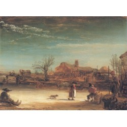 Winter Landscape 1664 by Rembrandt Harmenszoon van Rijn -Art gallery oil painting reproductions