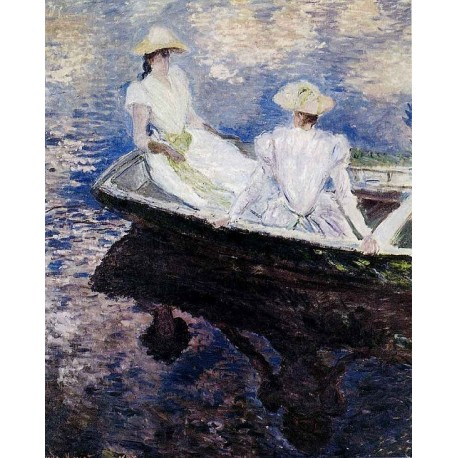 Girls in a Boat by Claude Oscar Monet - Art gallery oil painting reproductions