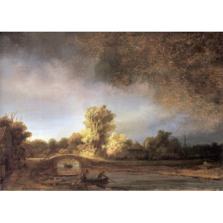 The Stone Bridges 1640 by Rembrandt Harmenszoon van Rijn-Art gallery oil painting reproductions