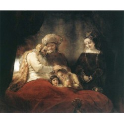 Jacob Blessing the Children of Joseph 1656 by Rembrandt Harmenszoon van Rijn-Art oil painting