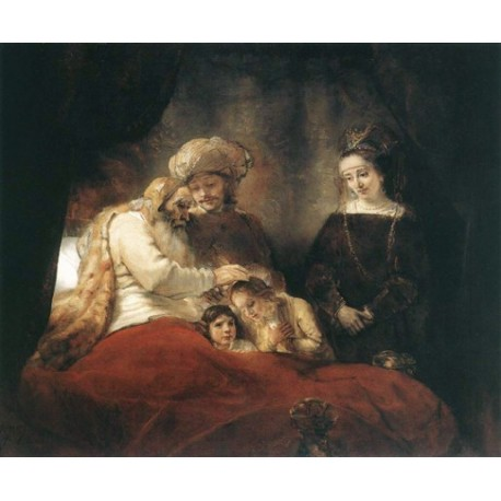 Jacob Blessing the Children of Joseph 1656 by Rembrandt Harmenszoon van Rijn-Art gallery oil painting reproductions