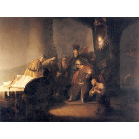 Judas Repentent, Returning the Pieces of Silver 1629 by Rembrandt Harmenszoon van Rijn-Art gallery oil painting reproductions