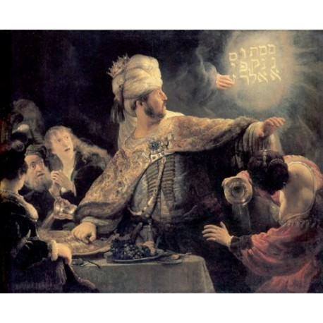 The Feast of Belshazzar- The Writing on the Wall 1635 by Rembrandt Harmenszoon van Rijn-Art gallery oil painting reproductions