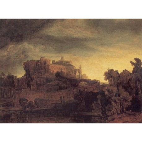 Landscape with a Castle 1632 by Rembrandt Harmenszoon van Rijn-Art gallery oil painting reproductions