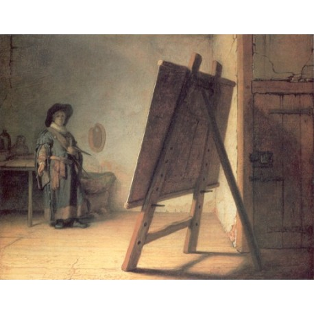 The Artist in His Studio 1629 by Rembrandt Harmenszoon van Rijn-Art gallery oil painting reproductions