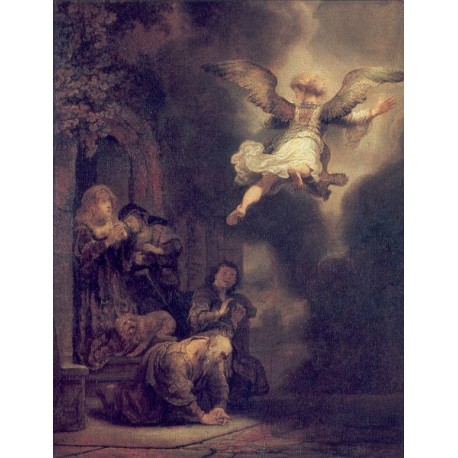 The Archangel Leaving the Family of Tobias 1637 by Rembrandt Harmenszoon van Rijn-Art gallery oil painting reproductions