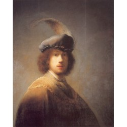 Self Portrait with Plumed Beret 1629 by Rembrandt Harmenszoon van Rijn-Art gallery oil painting reproductions
