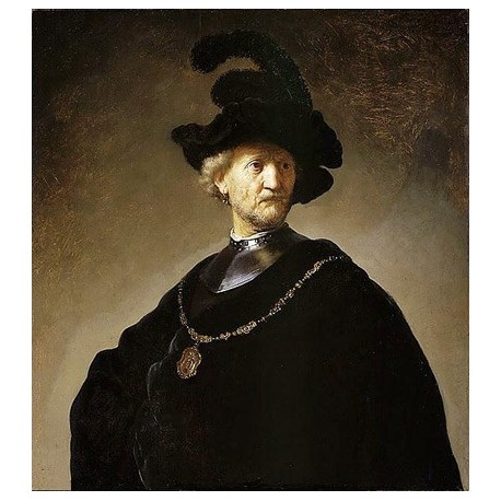 Old Man with a Gold Chain by Rembrandt Harmenszoon van Rijn-Art gallery oil painting reproductions
