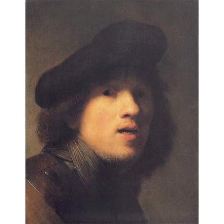 Self Portrait with Gorget and Beret 1629 by Rembrandt Harmenszoon van Rijn-Art gallery oil painting reproductions