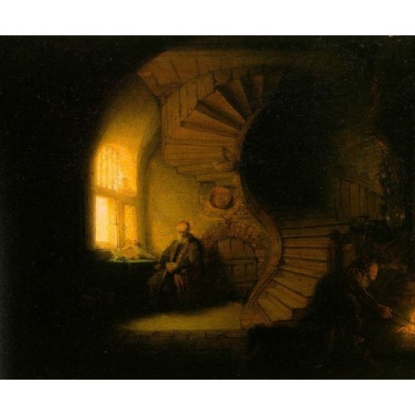 Philosopher in Meditation 1632 by Rembrandt Harmenszoon van Rijn-Art gallery oil painting reproductions