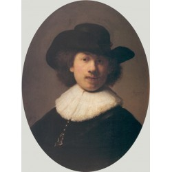 Self Portrait with a Wide-Brimmed Hat 1632 by Rembrandt Harmenszoon van Rijn-Art gallery oil painting reproductions