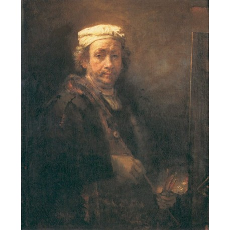 Self Portrait at an Easel 1669 by Rembrandt Harmenszoon van Rijn-Art gallery oil painting reproductions