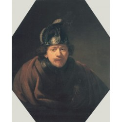 Self Portait with Helmet 1634 by Rembrandt Harmenszoon van Rijn-Art gallery oil painting reproductions