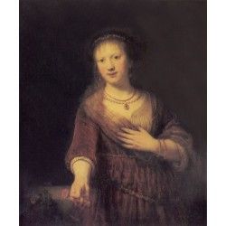 Saskia with a Flower 1641 by Rembrandt Harmenszoon van Rijn-Art gallery oil painting reproductions
