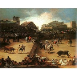 Bullfight in a Divided Ring by Francisco de Goya-Art gallery oil painting reproductions