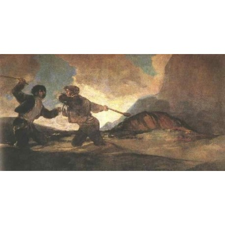 Duel with Clubs by Francisco de Goya-Art gallery oil painting reproductions