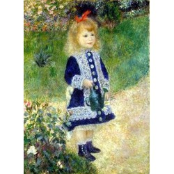 A Girl with a Watering Can by Pierre Auguste Renoir-Art gallery oil painting reproductions