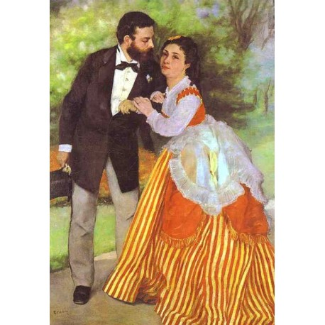 Alfred Sisley and His Wife by Pierre Auguste Renoir-Art gallery oil painting reproductions