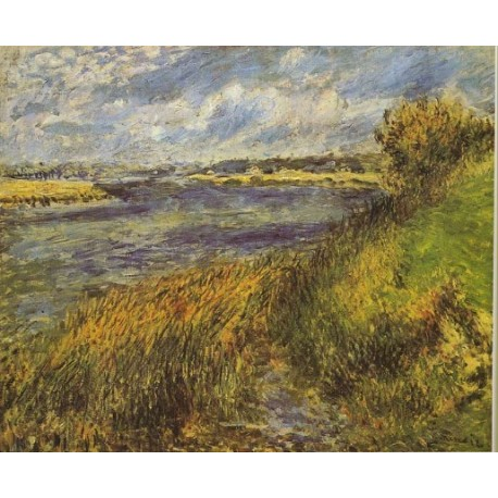 Banks of the Seine 1876 by Pierre Auguste Renoir-Art gallery oil painting reproductions