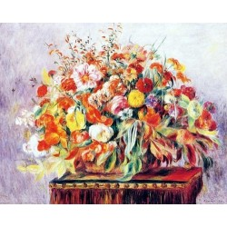 Basket of Flowers by Pierre Auguste Renoir-Art gallery oil painting reproductions